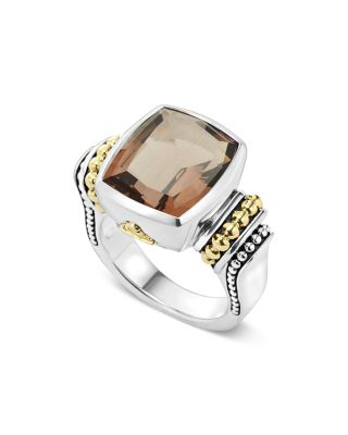 18K GOLD AND STERLING SILVER MEDIUM SMOKY QUARTZ RING