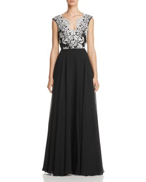 Aidan Mattox Lace Embroidered Gown