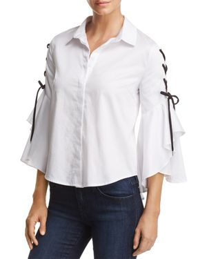 Do and Be Lace-Up Bell Sleeve Shirt thumbnail