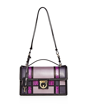 Salvatore Ferragamo Aileen Patchwork Leather and Watersnake Shoulder Bag