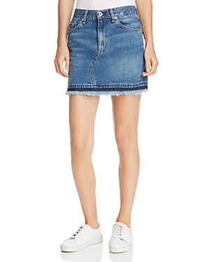 rag & bone/Jean Dive Denim Skirt in Fringed