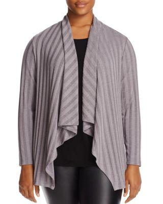 B COLLECTION BY BOBEAU CURVY Simone Rib-Knit Cardigan, Plus Size in Gray