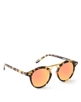 Krewe - Women's St. Louis 24K Mirrored Round Sunglasses, 46mm