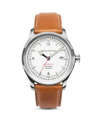 JACK MASON Nautical Stainless Steel & Italian Leather Automatic Strap Watch in White/ Tan