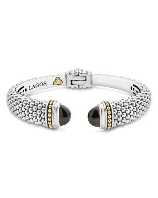 18K Gold And Sterling Silver Caviar Color Onyx Cuff, 12Mm, Black/Silver