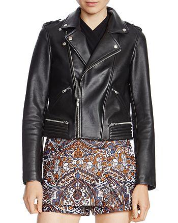 Maje - Basalt Leather Biker Jacket