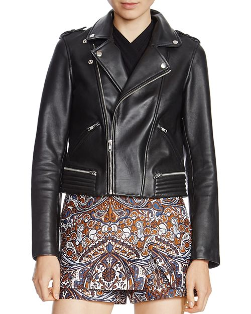 Maje - Basalt Leather Biker Jacket