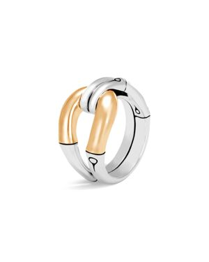 John Hardy 18K Yellow Gold and Sterling Silver Bamboo Loop Ring