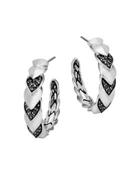 John Hardy - Sterling Silver Naga Hoop Earrings with Black Sapphire and Black Spinel