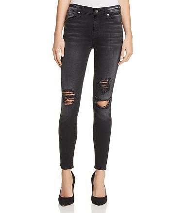 7 For All Mankind - The Ankle Distressed Skinny Jeans in Aged Onyx