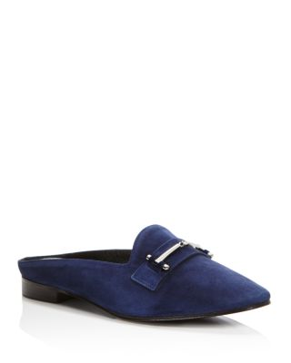 MELODY SUEDE FLAT LOAFER MULE W/ BIT DETAIL, NAVY