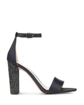 IVANKA TRUMP Emalyn Satin Ankle Strap Sparkle Heel Sandals