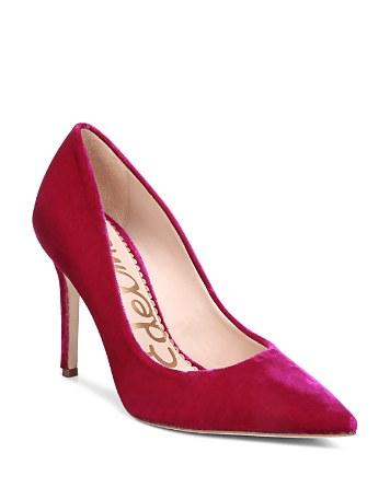 $Sam Edelman Hazel Velvet Pointed Toe High-Heel Pumps - Bloomingdale's