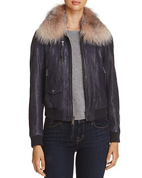 Andrew Marc - Naples Fur Trim Leather Bomber Jacket