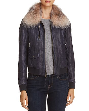 Andrew Marc - Naples Fur Trim Leather Bomber Jacket