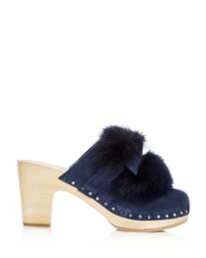 Cheap Sale Genuine Loeffler Randall Phillips Fox Fur Suede Clogs Cheap Sale Buy o0ccCku