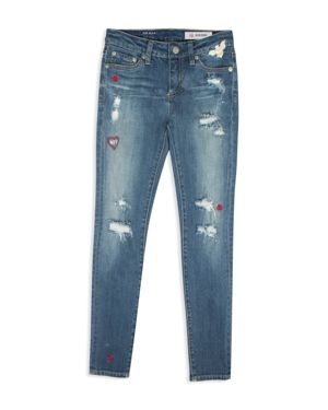 ag Adriano Goldschmied Kids Girls' Embroidered & Distressed Bff Skinny Jeans - Big Kid