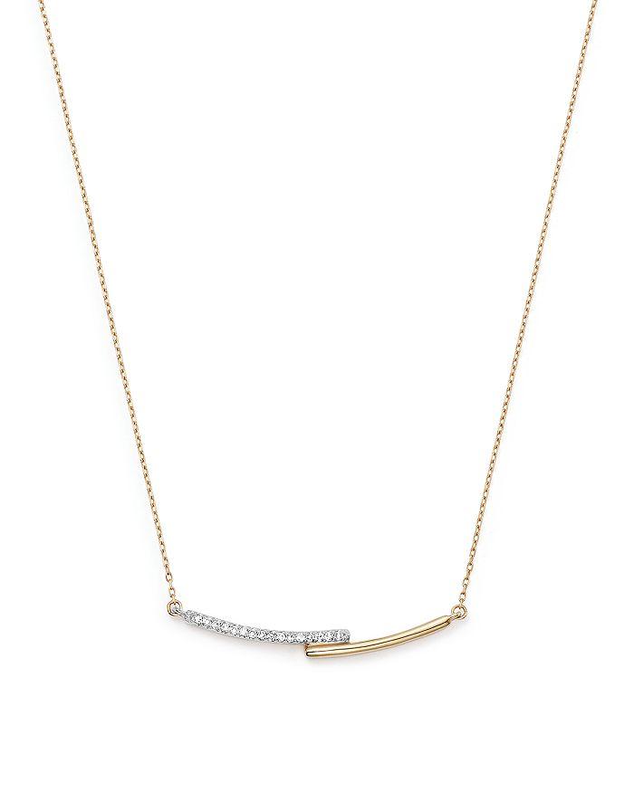 "Adina Reyter - 14K Yellow Gold Pavé Diamond Crossover Bar Pendant Necklace, 15"""