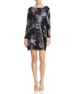 Aidan Mattox Embellished Long-Sleeve Dress
