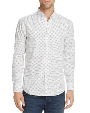 Boss Orange Preppy Triangle Microprint Long Sleeve Button-Down Shirt