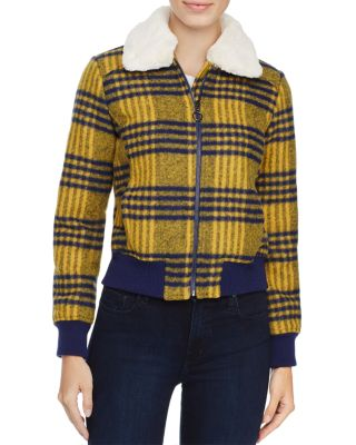 LOUISE PARIS Faux Fur Trim Plaid Puffer Jacket - 100% Exclusive in Yellow