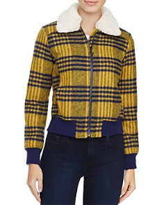 Louise Paris - Faux Fur Trim Plaid Puffer Jacket - 100% Exclusive