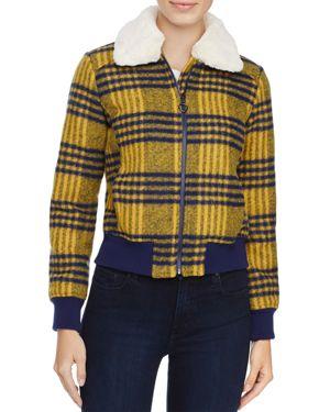 Louise Paris Faux Fur Trim Plaid Puffer Jacket - 100% Exclusive