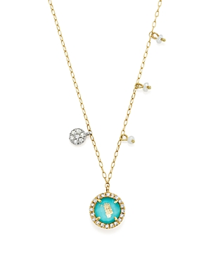 14K Yellow Gold Turquoise Doublet and Diamond Pendant Necklace with Cultured Freshwater Pearl Charms