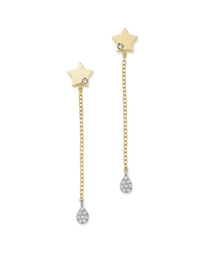 Meira T - 14K White and Yellow Gold Diamond Star Drop Earrings
