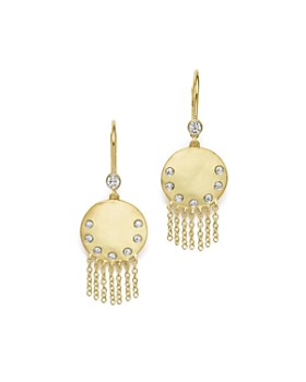 ae0f4bb35 Meira T - 14K Yellow Gold Disc and Fringe Earrings with Diamonds ...