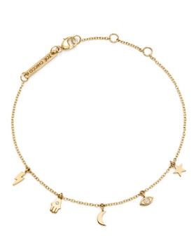Zoë Chicco - 14K Yellow Gold Itty Bitty Celestial Charms Bracelet with Diamonds