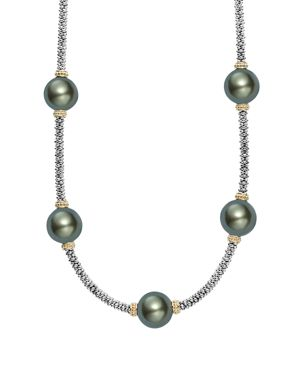 Lagos 18K Gold and Sterling Silver Luna Cultured Tahitian Pearl Station Necklace, 16