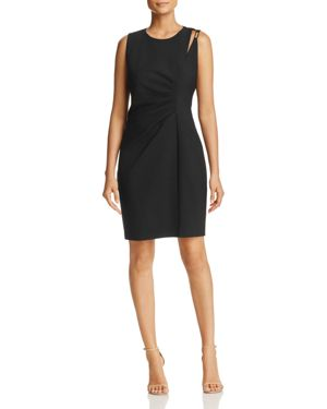 Elie Tahari Clarette Slit Shoulder Pleated Dress