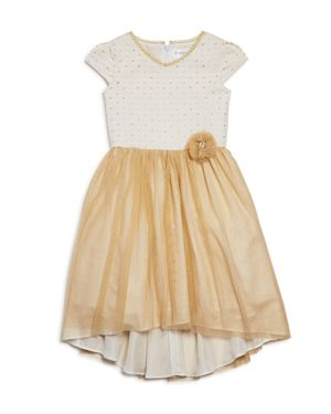 Us Angels Girls' Metallic-Tulle Dress - Little Kid thumbnail
