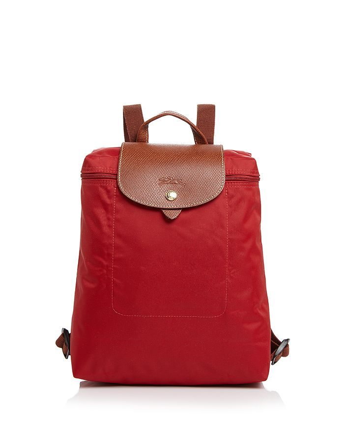 Longchamp Le Pliage Nylon Backpack In Deep Red/gold