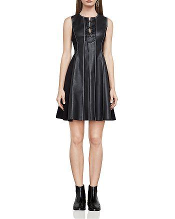 BCBGMAXAZRIA - Jolee Lace-Up Faux Leather Dress