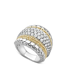 LAGOS - 18K Gold and Sterling Silver Diamond Lux Large Ring