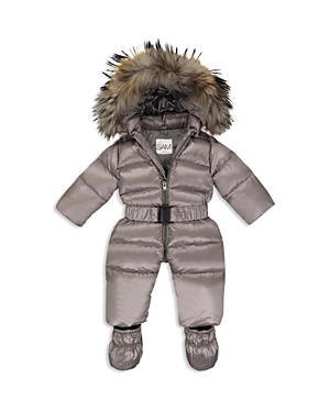 Sam. Unisex Snowbunny Snowsuit with Fur-Trimmed Hood - Baby
