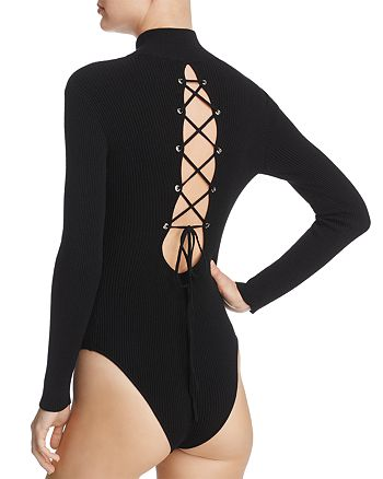 Do and Be - Lace-Up Rib-Knit Bodysuit - 100% Exclusive
