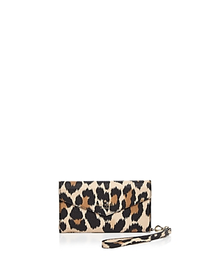 kate spade new york Envelope Leopard Print iPhone 7/8 Leather Wristlet