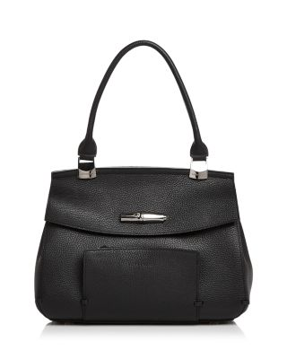 Madeleine Leather Satchel - Black, Black/Gunmetal