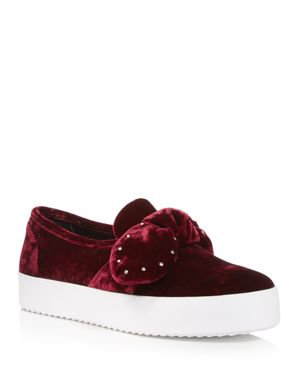 Rebecca Minkoff Women's Stacey Velvet Studded Bow Slip-On Sneakers
