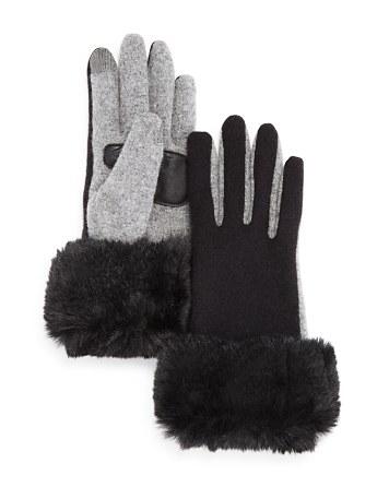 $Echo Faux Fur Cuff Tech Gloves - Bloomingdale's