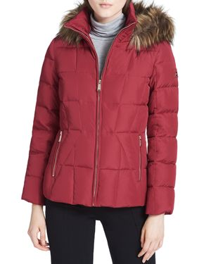 Calvin Klein Faux Fur Trim Puffer Coat