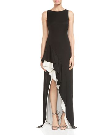 HALSTON HERITAGE - Color-Block Asymmetric-Skirt Gown