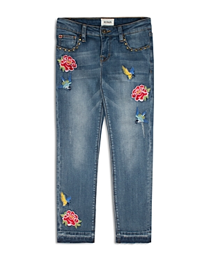 Hudson Girls' Embroidered Hummingbird & Flower Girlfriend Jeans - Big Kid