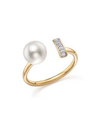 Cultured Freshwater Pearl And Diamond Bar Bypass Ring In 14K Yellow Gold - 100% Exclusive, White/Gold