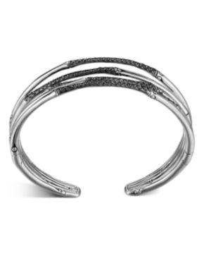 John Hardy Bamboo Silver Lava Narrow Flex Cuff, Black Sapphire