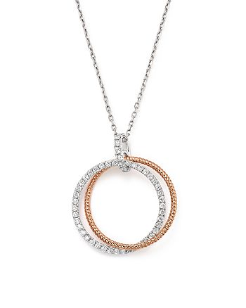 Bloomingdale's - Diamond Double Circle Pendant Necklace in 14K White and Rose Gold, .30 ct. t.w. - 100% Exclusive
