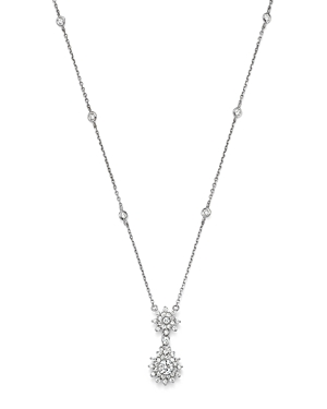 Diamond Station and Flower Burst Pendant Necklace in 14K White Gold, .80 ct. t.w. - 100% Exclusive